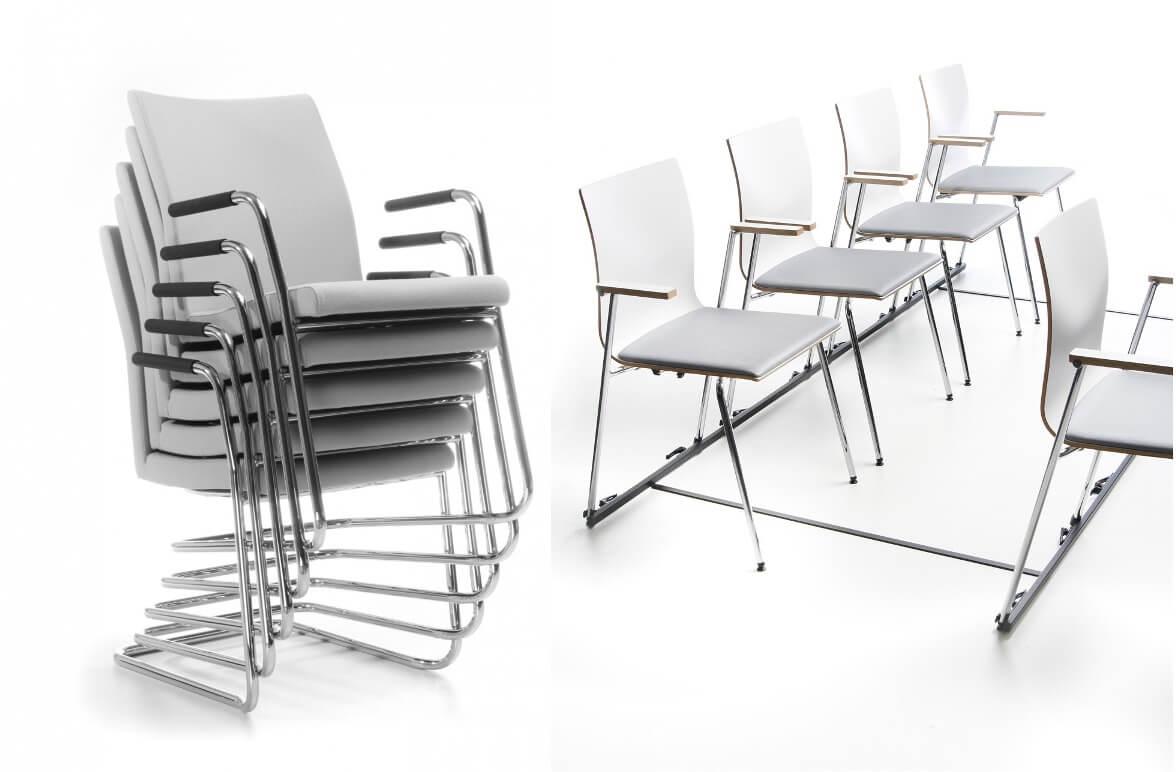 sztaplowanie krzesel i laczenie w rzedy